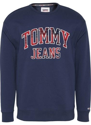 Tommy Hilfiger Erkek Tjm Plaid Tommy Graphic Sweatshirt DM0DM09429 Lacivert